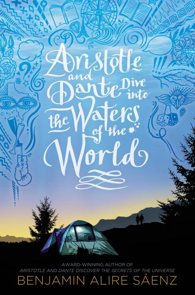Portada de la secuela de 'Aristóteles y Dante descubren los secretos del universo' con tonos azules y que muestra el título del autor y la obra en inglés