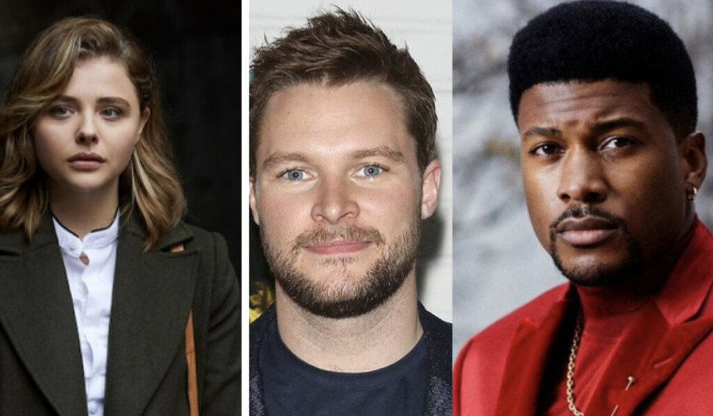 De izquierda a derecha, una foto de la actriz Chloë Grace Moretz, otra del actor Jack Raynor y otra del actor Eli Goree