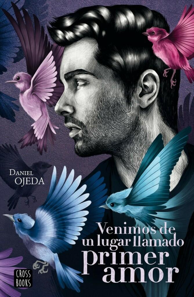 Portada de la novela, en la que aparece una ilustración de la cara del autor rodeada de pájaros