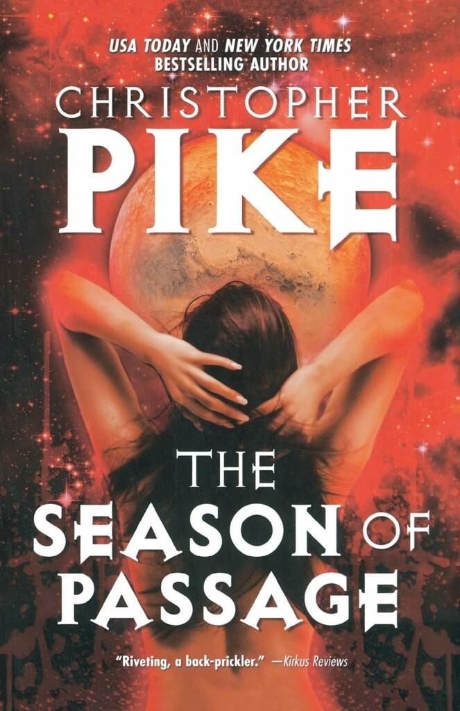 Portada inglesa de la novela The Season of Passage con los títulos en blanco y el fondo en colores naranjas, muestra a Marte en el fondo y a una mujer de espaldas en primer plano