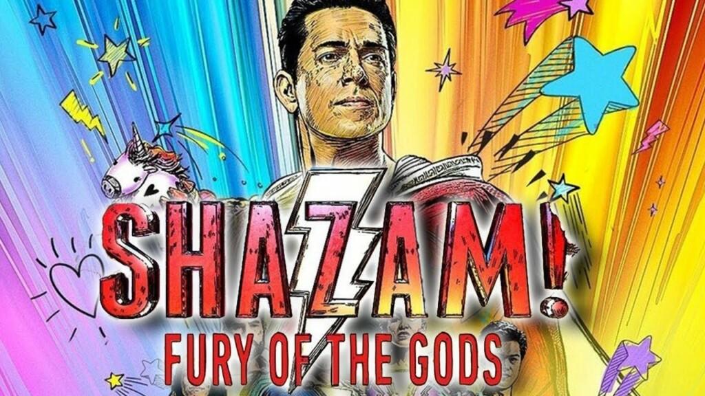 Poster colorido compartido por Zachary Levi en Twitter de '¡Shazam! Furia de los dioses'. Muestra al propio Levi y un fondo colorido junto con el título
