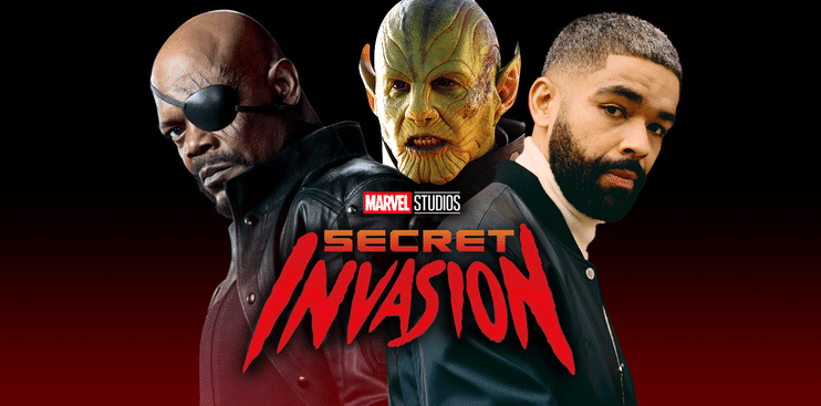 Poster hecho por los fans de 'Secret Invasion' que meustra a Samuel L. Jackson como Nick Fury, a Ben Mendelsohn como Talos y a Kingsley Ben-Adir y el título