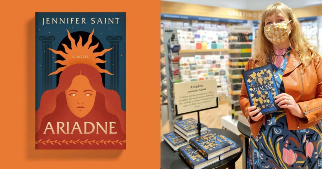 Portada de la novela 'Ariadne' y su autora Jennifer Saint