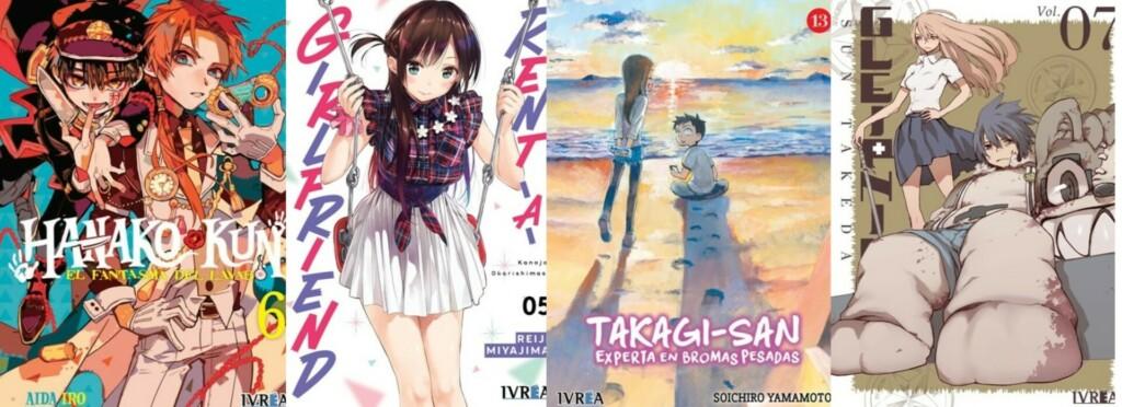 Portadas de Hanako-kun, el fantasma del lavabo #6, una de las apuestas que está llamando mucho la atención, Rent-a-girlfriend #5, Takagi San, Experta en Bromas Pesadas #13 y Gleipnir #7