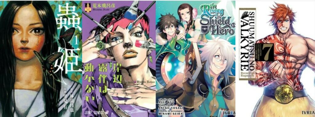 Portada de Mushihime #1,  Así habló Kishibe Rohan #1, tomo 15 de The Rising of The Shield Hero y el volumen 7 de Shuumatsu no Valkyrie