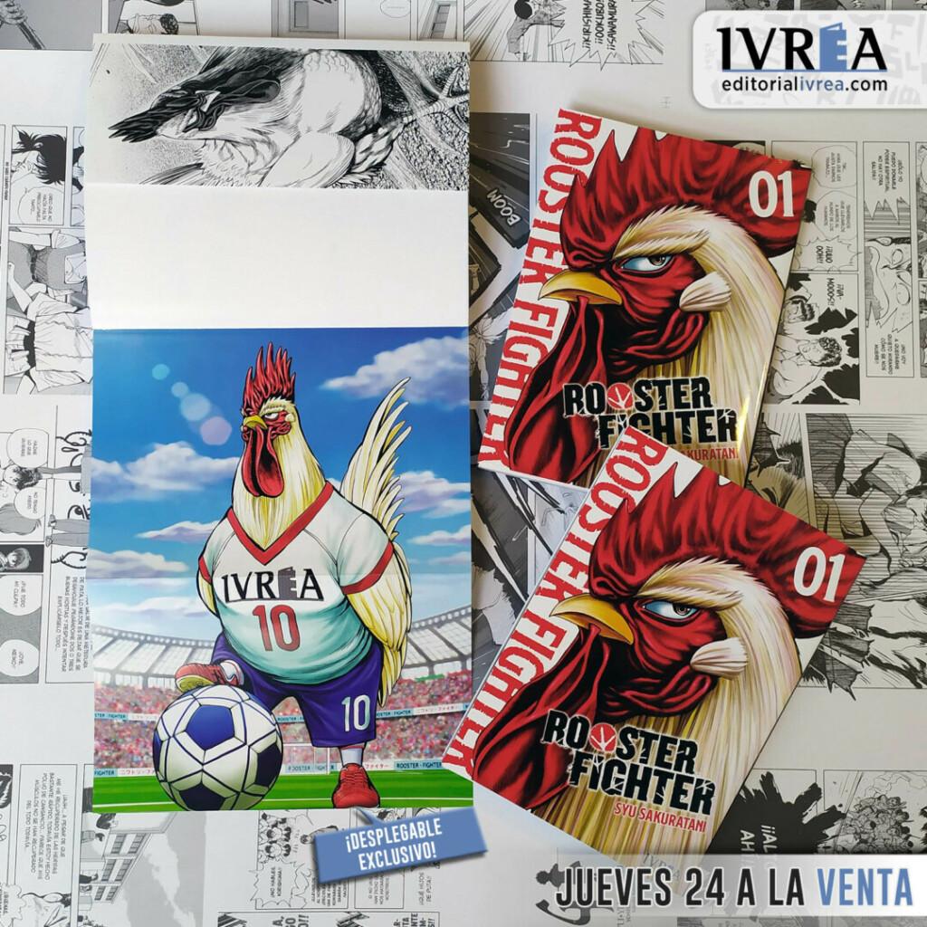 Imagen compartida por la editorial con la portada del primer tomo de 'Rooster Fighter' y el desplegable de regalo