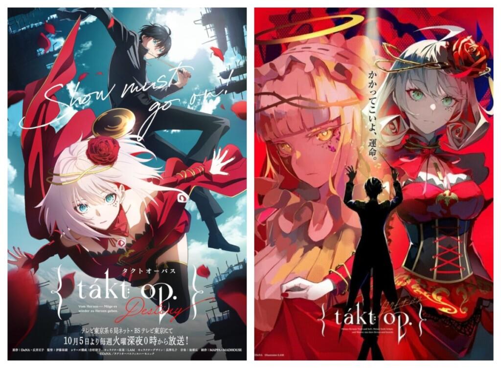 Póster promocionales de Takt op.Destiny, en los que se ve a Takt, un Conductor vestido con levita, y Unmei, una Magicart con un vestido rojo y una rosa roja en el pelo