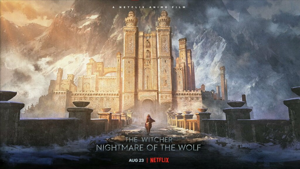 Cartel promocional de The Witcher: la pesadilla del lobo, en la que se ve al protagonista a caballo a las puertas de una imponente fortaleza