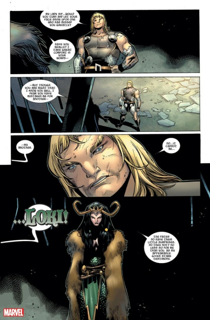 Panel de cómics con Lady Loki y Thor