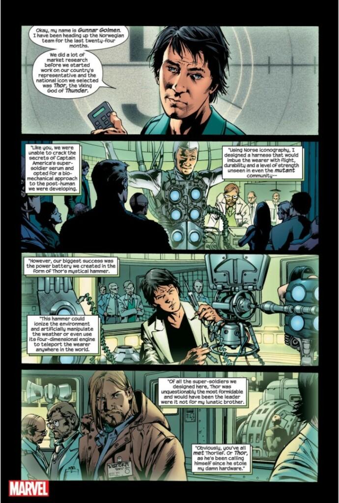 Panel de cómic con Loki y Thor en 'The Ultimates'