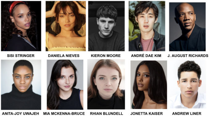 Moisaico con las fotos y nombres de los actores de la serie 'Vampire Academy'