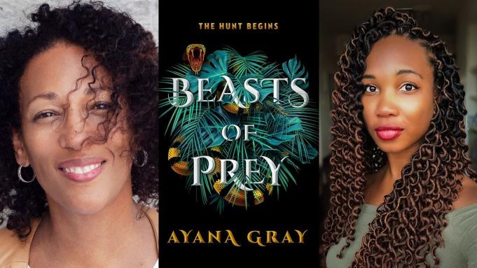 Imagen de Melody Cooper, la portada de 'Beasts of Prey' y la autora Ayana Gray